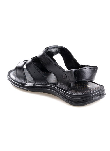 Tardelli 422 Siyah Ortapedik Erkek Günlük Deri Sandalet Siyah